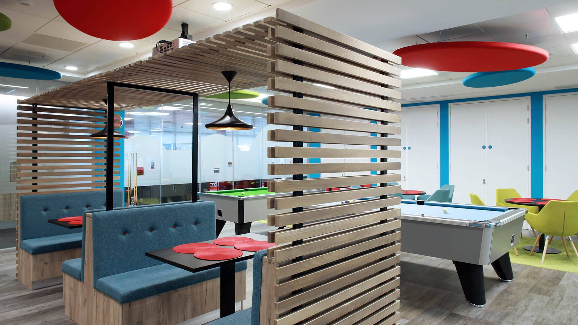 bespoke seating for canteen in Cayan Belfast