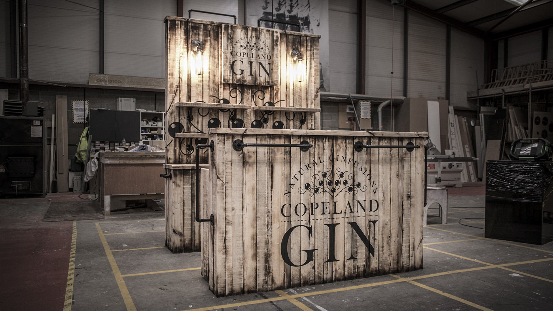 Copeland Distillery retail custom built bar