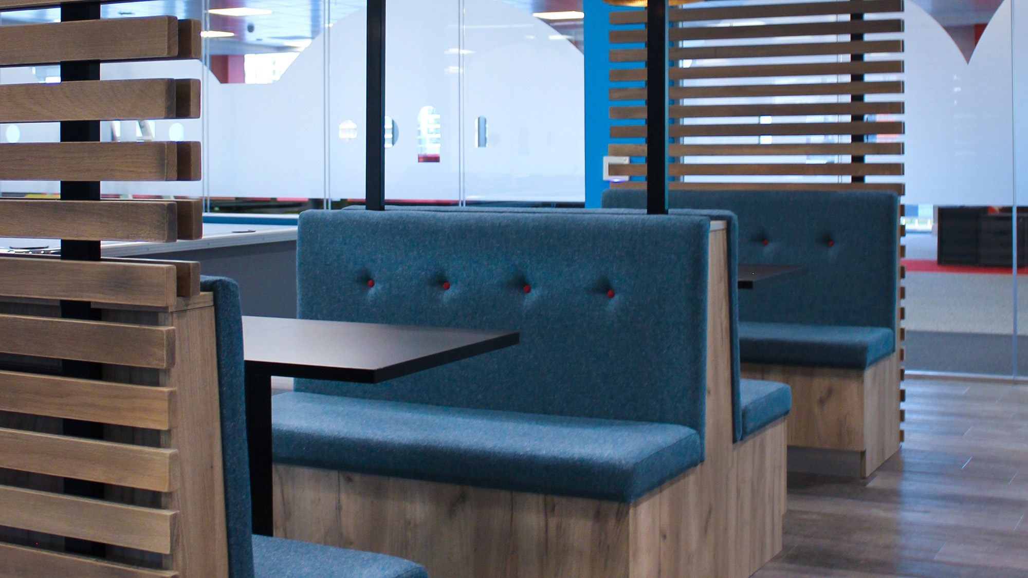 bespoke seating for canteen area in Cayan Belfast
