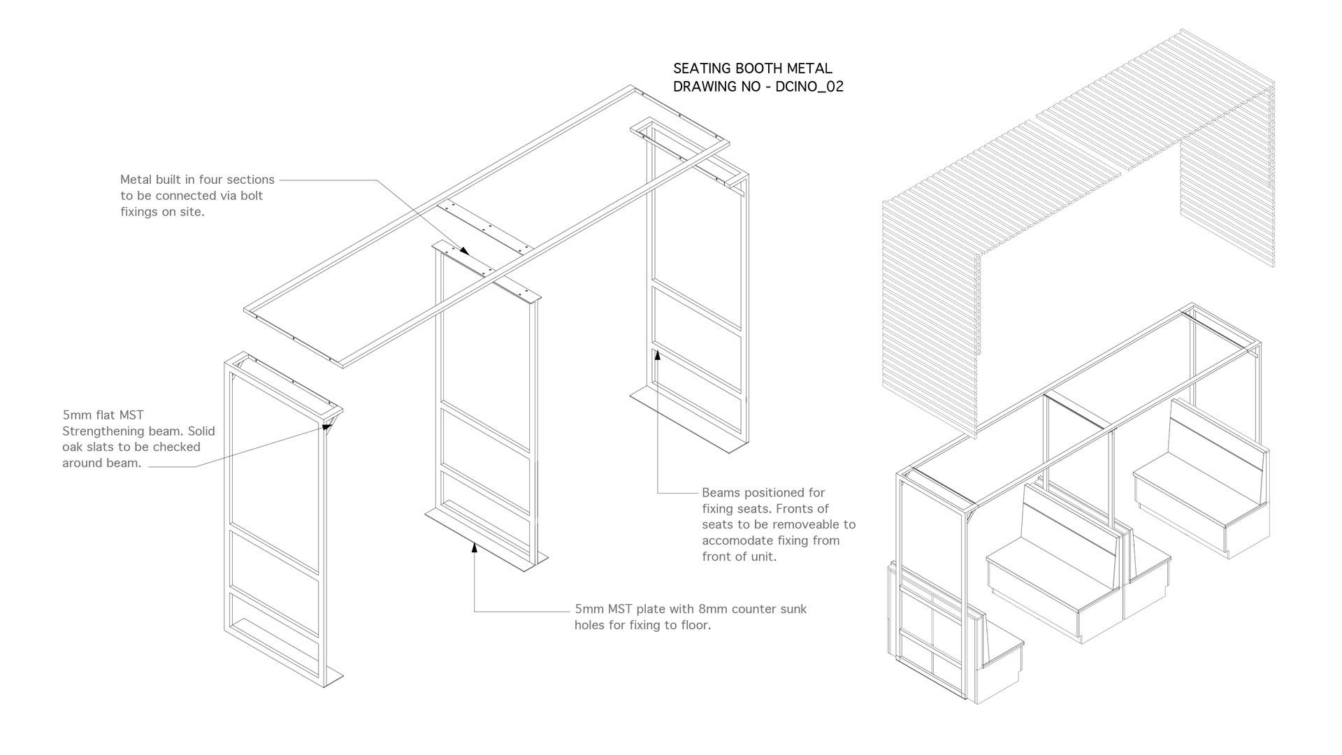 technical drawings for bespoke seating for canteen area in Cayan Belfast