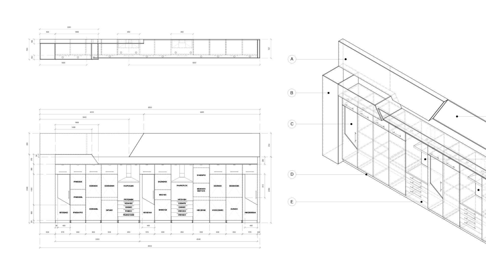 Technical drawings for retail fitout Hotpoint UK