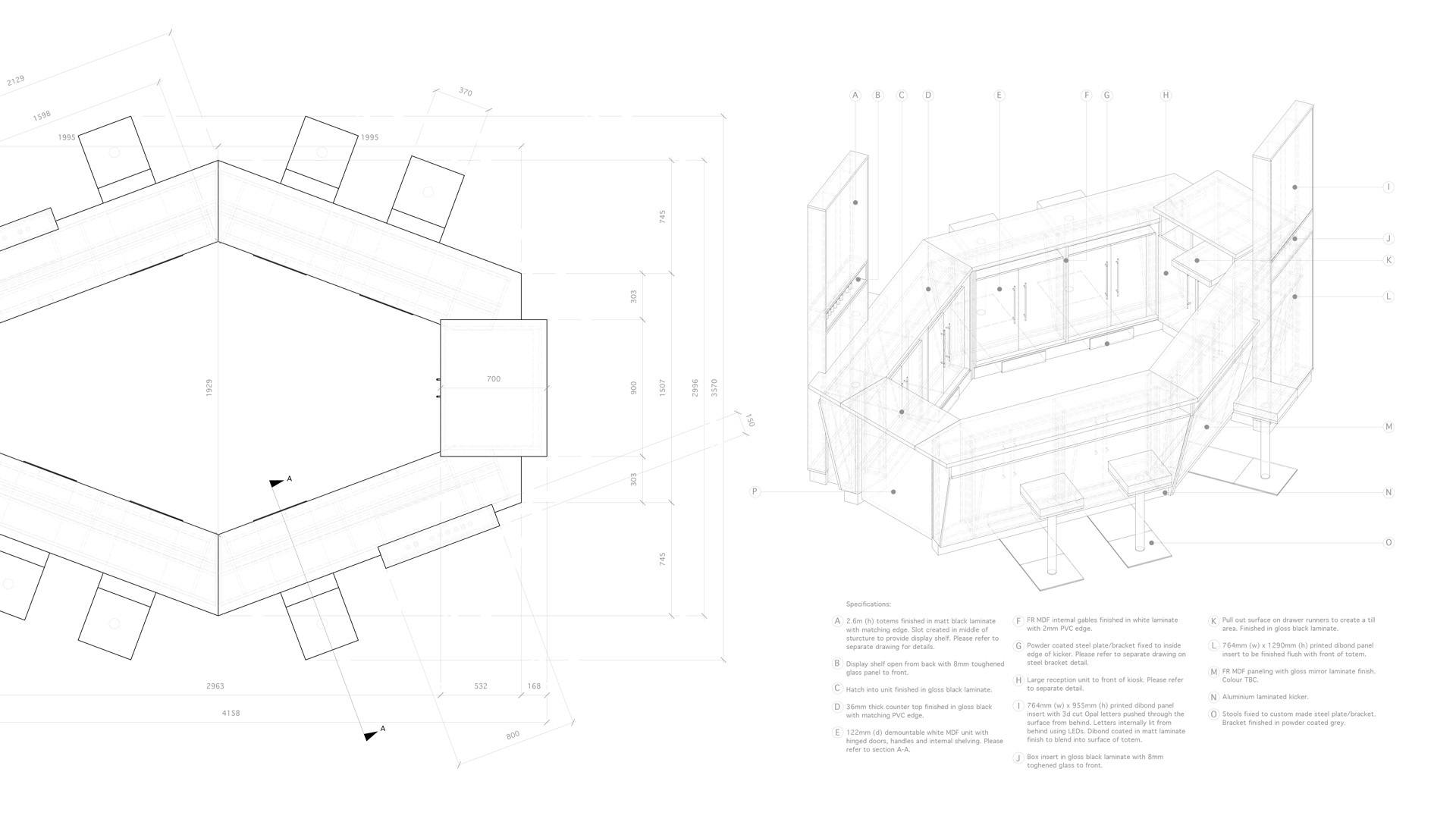 Technical drawings for retail unit for Polished in Castle Court Belfast