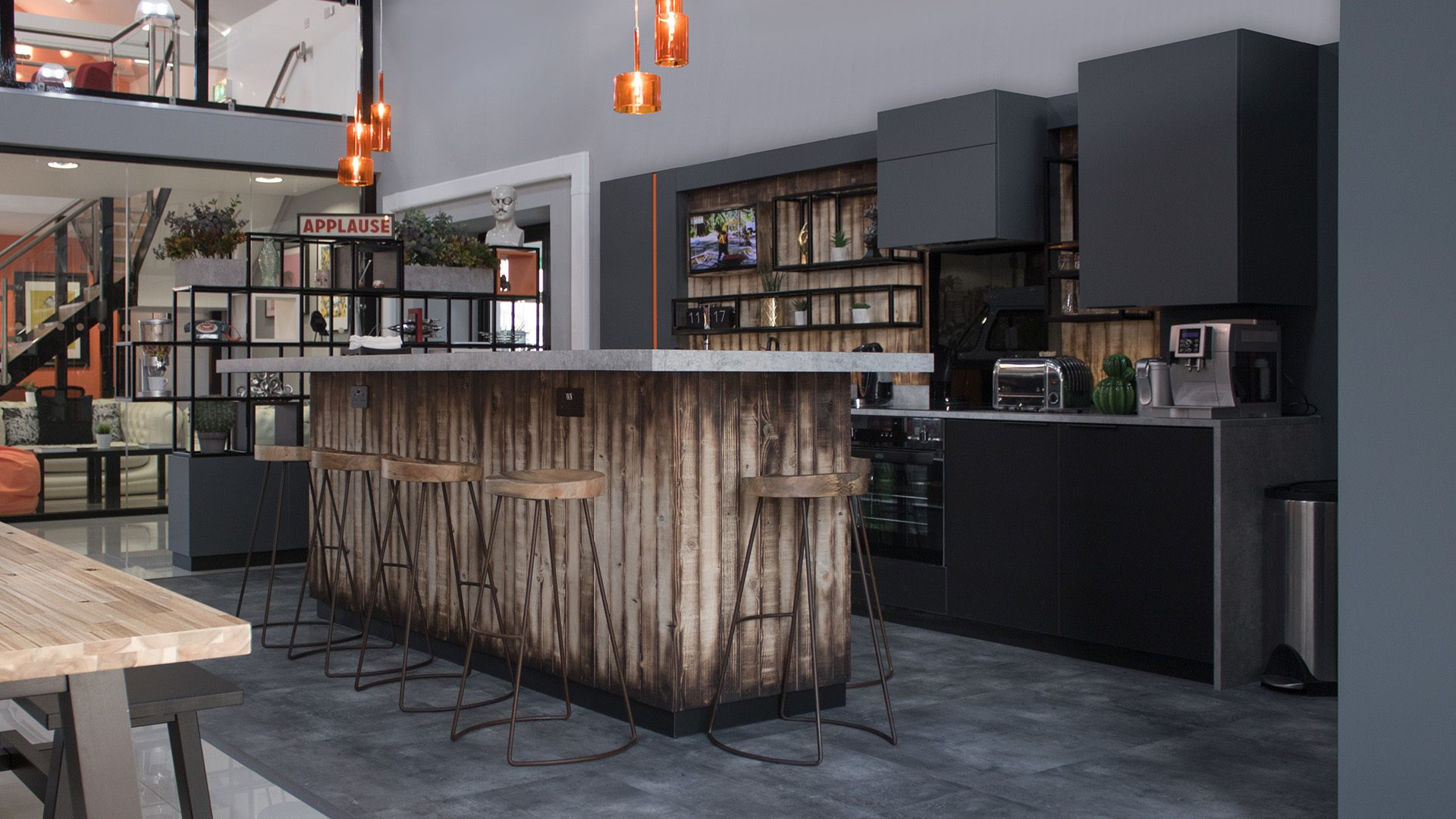 Bar and stools at Property Pal Belfast with bespoke lighting.