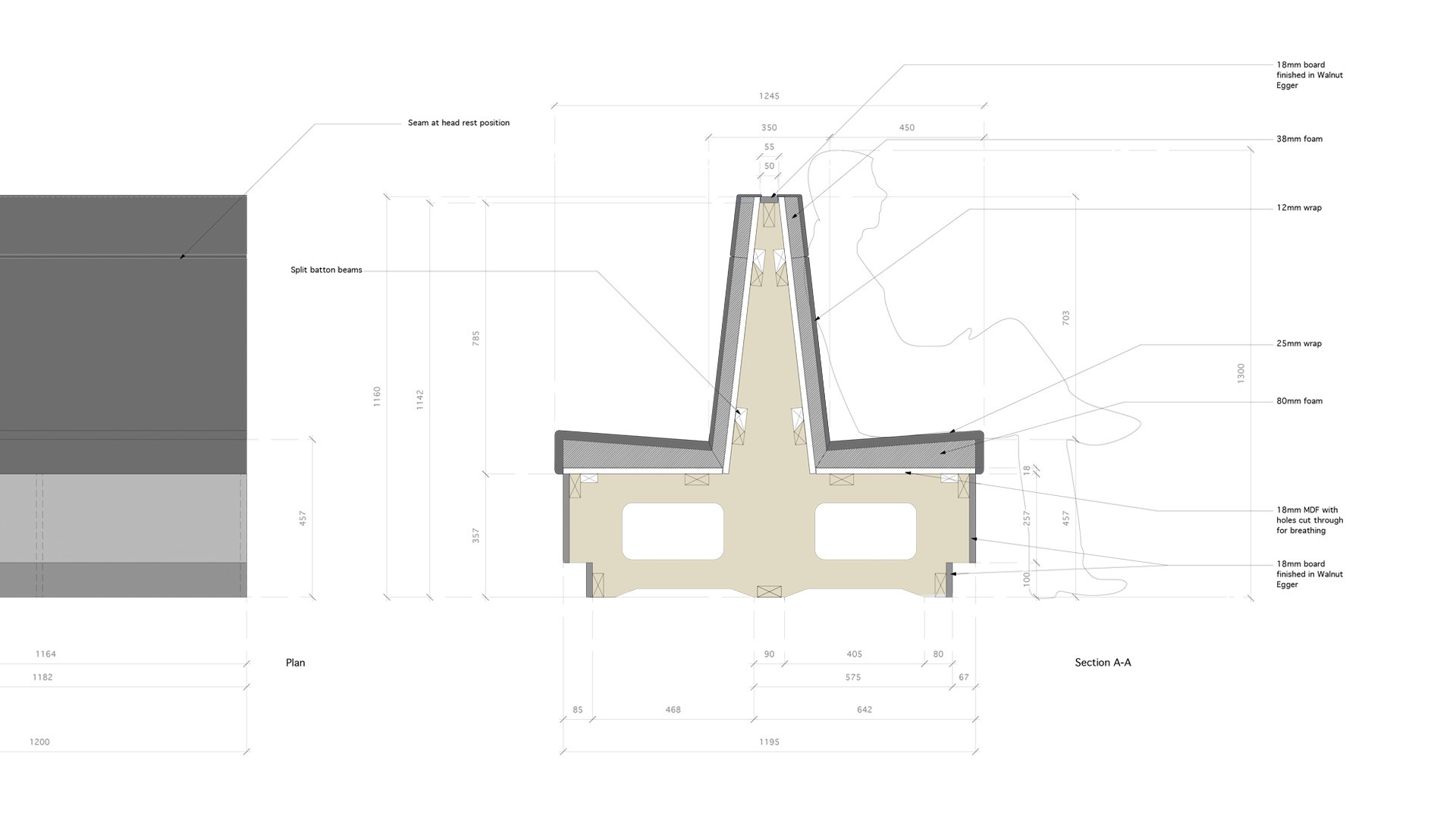 Technical drawing for Aberdeen Royal Infirmary canteen