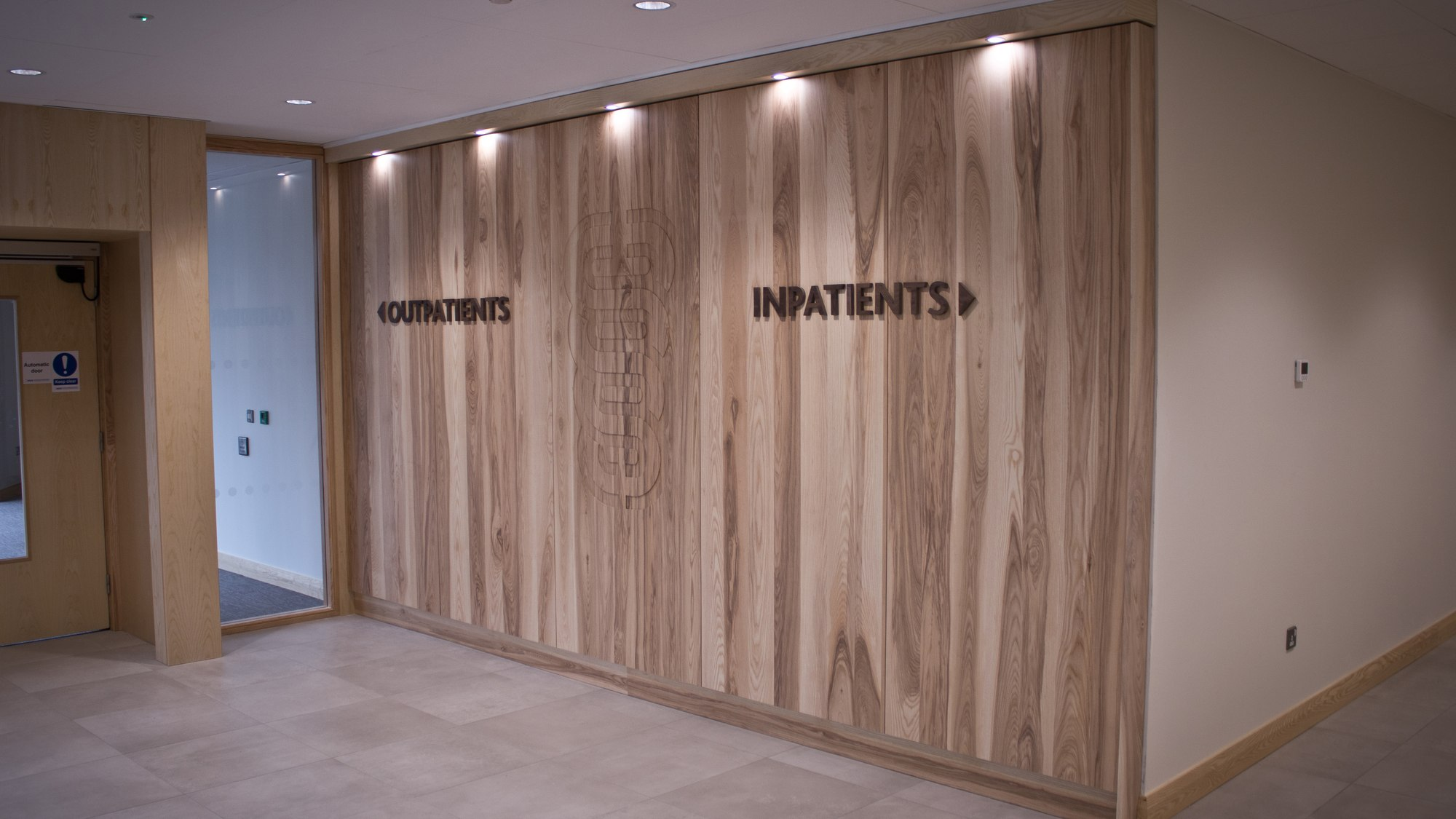 wooden feature wall bespoke at Ulster Clinic Belfast