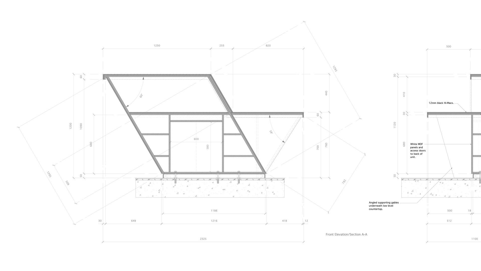 technical drawing for victoria house reception area desk