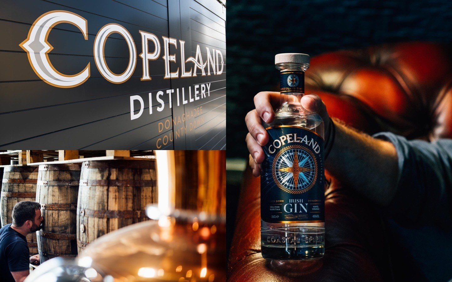 Images of the Copeland Distillery branded sliding door, it's Irish gin and their copper stills