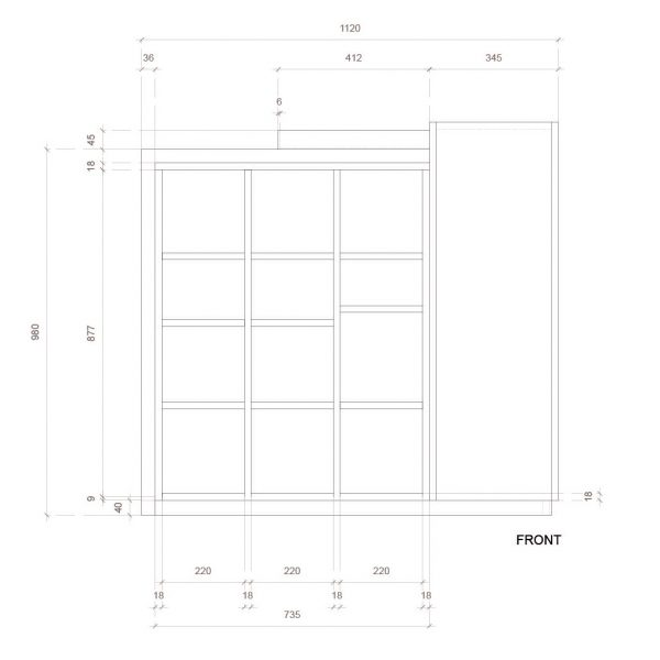 The Domino, POS display, front elevation dimensions