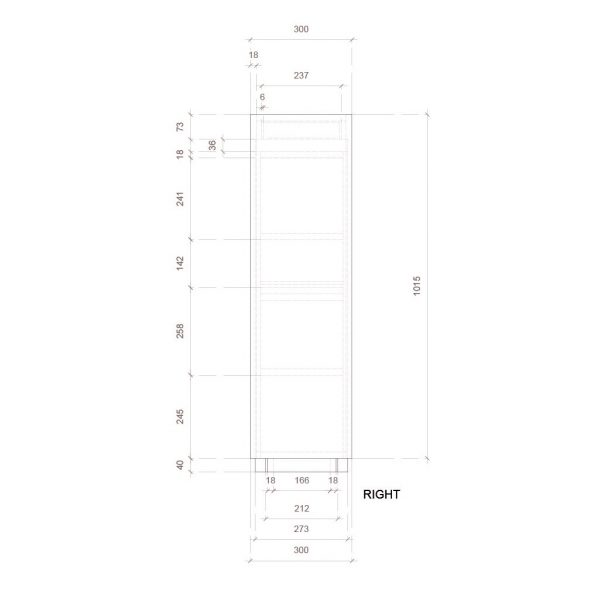 The Domino, POS display, side elevation dimensions